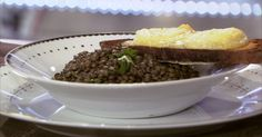 Salade de lentilles verte du Puy au crottin de Chavignol chaud