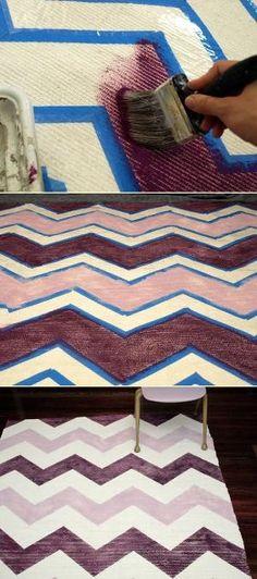 DIY: painted chevron rug. #home by Raelynn8