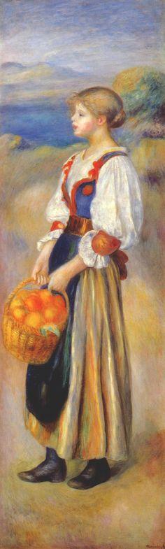 Girl with a basket of oranges - Pierre-Auguste Renoir