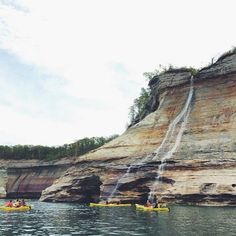 We think a Michigan kayaking trip is in order, don't you? This shot of Bridalveil Falls in Pictured Rocks National Lakeshore was captured by @zmsuhar. Where do you like to drop in and paddle around Pure Michigan? #PureMichigan #PicturedRocks