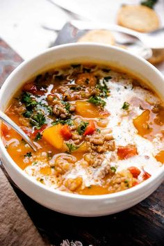 Best Butternut Squash Recipe, Butternut Squash Soup, Real Food Recipes, Soup Recipes, Vegetarian Recipes, Healthy Recipes, Italian Sausage Soup, Homemade Soup, Soup And Salad
