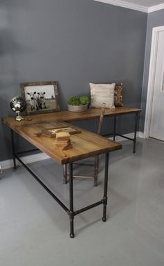 Reclaimed Wood L Shaped Desk Wood Desk Pipe Desk by DendroCo, $280.00