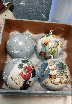 """Купить набор елочных шаров в коробке """" Снеговик"""" - комбинированный, Новый Год, новый год 2017"""