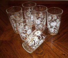 6 Vintage AH Beverage Glasses wth White Flowers Gold Trim