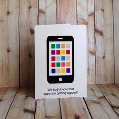 Smartphone, iPhone, iPod, Valentines Day, Birthday, Handmade, Card on Etsy, $3.50