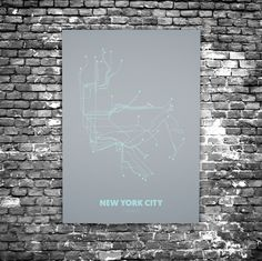 New York City C5 - Acrylic Glass Art Subway Maps (Acrylglas, Underground)