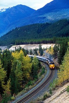 The Canadian Distance: 2,792 miles Duration: three days There's no Wi-Fi on ViaRail's transcontinental jaunt, so be prepared for hours of watching the scenery. Luckily, what you'll see—snow-capped Rocky Mountains, the forest of the Canadian Shield, and the rest of Canada's strikingly empty landscape—is breathtaking. Beginning in Toronto and ending in Vancouver, the ride is made even better by comfortable sleeper cars and the chances of seeing moose, deer, and even bears from the windows.