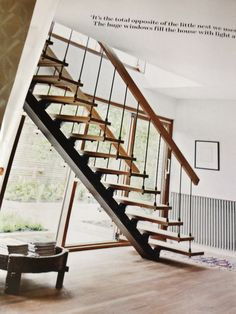 Great staircase, wood and steel - the perfect match and designed beautifully.