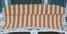 Hand Crochet Afghan - Peach, Brown, Blue - Couch/Bedroom, Warm - Vintage - Fabulous! by YPSA on Etsy