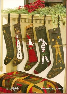 more cute stockings for Christmas mantel