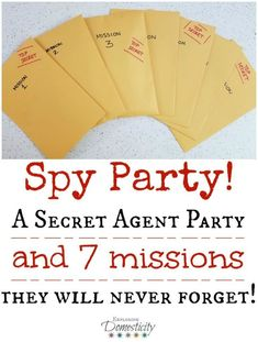 Party: A Secret Agent Birthday Party they will Never Forget! This Spy Party was one of the BEST birthday parties we've ever had! Each of the seven missions were so much fun and the kids were totally into it! Turn all the kiddos into secret agents and give Geheimagenten Party, Craft Party, Party Time, Dinner Party Games, Mystery Dinner Party, Clue Party, Mystery Parties, Spy Birthday Parties, Birthday Fun