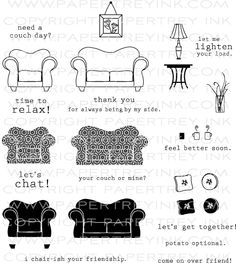 On My Couch Stamp Set $24 Papertrey Ink