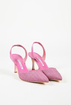 "Manolo Blahnik Pink Canvas & Patent Leather ""Carolyne"" Slingback Pumps"