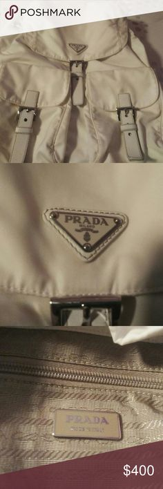 Prada book bag White Prada book bag, there is one stain on the last picture I washed it and left it out when I should have hand washed it so if you want to wash HAND WASH ONLY!!!! If you have any questions please comment and I'll give you my number, and also this bag is authentic and I did buy it in Italy for $600 IT IS A RARE WHITE PRADA BOOK BAG!!!!! If you looked it up on Google there aren't that many pictures of this bag because it's really rare don't forget to comment and feel free to…