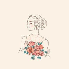 Likes, 26 Comments - Adrianne Walujo Ink Illustrations, Cute Illustration, Pretty Art, Cute Art, Desenhos Love, Dibujos Cute, Digital Art Girl, Cartoon Wallpaper, Doodle Art