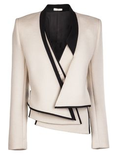 Natte de Laine jacket in ivory from Bouchra Jarrar Vault. This fitted wool jacket features black satin trimming, long sleeves, padded shoulders, and a tonal su… Look Fashion, Womens Fashion, Fashion Design, Fashion Trends, Fashion Coat, Blazer Fashion, Korean Fashion, Bouchra Jarrar, Vintage Kimono