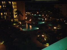 View of the pool area of the Westin Ka'anapali North Ocean Resort Villas at night taken from the 6th floor of Bldg 6.  #placesinparadisetravel