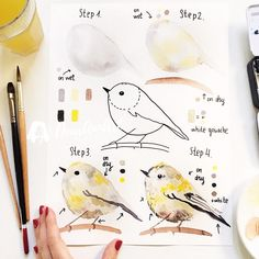 Bird Watercolor Paintings Easy Ideas For 2019 Easy Watercolor, Watercolour Tutorials, Watercolor Techniques, Watercolor Paintings, Watercolors, Beginning Watercolor, Step By Step Watercolor, Watercolor Brushes, Landscape Paintings
