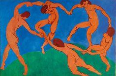 A Dança - Pinturas de Matisse, Henri - (Fauvismo) Francês, essa obra mostra poucas cores mas fortes.