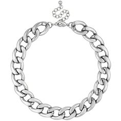 Online exclusive chunky silver chain necklace ($9.34) ❤ liked on Polyvore