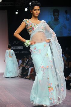 What a pretty colour it is! Loved the blouse design also.Indian Wedding Fashion by Bhairavi Jaikishan LFW S/S 13 Indian Wedding Fashion, Indian Bridal Wear, Indian Wear, Bridal Fashion, India Fashion, Ethnic Fashion, Women's Fashion, Asian Fashion, Fashion Ideas