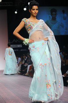bhairavi-jaikishan lfw ss13 pale blue floral sari