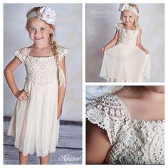 "Country chic, vintage, perfect for weddings, flower girl dresses, Easter dress. Cream crochet lace top and cream layered bottom. Your little cutie will love this dress. Sizes available: 2T, 3T, 4T, 5T, 6T, 7/8Y, 8/9Y and 10/12. Excellent for spring and summer. Check us out online at www.TinyFabulous.com and select the ""Lily"" dress."