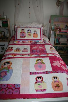 Babushka Quilt - love the idea of the matching sham/pillowcase Girls Quilts, Baby Quilts, Quilting, Matryoshka Doll, Creation Couture, Doll Quilt, Applique Quilts, Quilt Making, Quilt Blocks