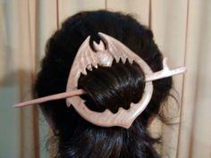 Hebilla Cabello en Madera -Murciélago Hallowen - Wood hair pin bat