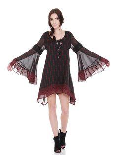 Mckenzie Dress Black Burgundy