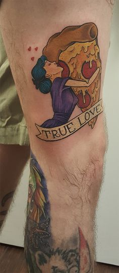 Tattoo By Eric Jazvac Wunderland Tattoo Gainesville, FL. Not the biggest fan of pizza, but I do appreciate the art style done.