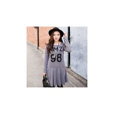 Number Panel Long-Sleeve Dress (€39) ❤ liked on Polyvore featuring dresses, women, long sleeve dress, panel dress, longsleeve dress, dark gray dress and dark grey dress