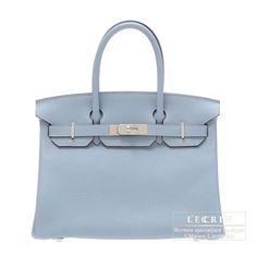 5a539cc1d2 Hermes Birkin Bag 30 Blue Lin Clemence Leather Silver Hardware