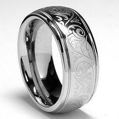 7MM Stainless Steel Ring With Engraved Florentine Design Sizes 5 to 10
