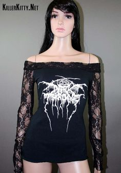 Darkthrone Lace Off Shoulder Black Metal Top