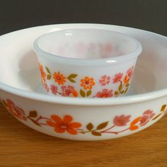 French Pyrex Bowl and Ramekin - Large Arcopal France Pyrex Fruit Bowl -- Just lovely... pink and coral floral bowls..