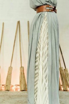 i love layers dresses. White lace shift dress with a light blue long tunic over it.