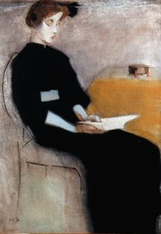 finnish art ♠ helene schjerfbeck (helsinki, finlande I862 † saltsjöbaden, suède I946) academy colarossi / theme de la femme lisant reading woman palette brun gris noir