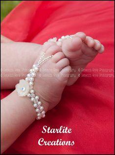 "NEWBORN Baby Barefoot Sandals ""DAISY"" Pearl & Swarovski AB Crystal Weave 1 pr   #StarliteCreations"