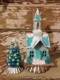 Blue Putz Church Christmas Church Glitter Church Putz House Decorated Bottlebrush Tree Vintage Christmas Village Church Cardboard House by ThePokeyPoodle on Etsy