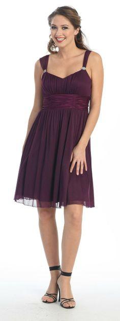 Short Plum Knee Length Chiffon Bridesmaid Dress Empire Waist Knee Length Plum Bridesmaid Dresses, Plum Dresses, Junior Bridesmaids, Girls Dresses, Flower Girl Dresses, Formal Dresses, Wedding Dresses, Knee Length Dresses, Cold Shoulder Dress