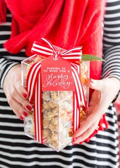Attach these free printable gift tags to a popcorn treat for a darling holiday gift idea that's perfect for friends, neighbors, and more!