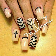 Stunning pink and black cross nails Get Nails, Love Nails, Pretty Nails, Hair And Nails, Cross Nail Designs, Acrylic Nail Designs, Nail Art Designs, Acrylic Nails, Cross Nail Art