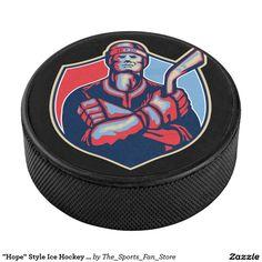"""Hope"" Style Ice Hockey Player - Ice Hockey Puck"