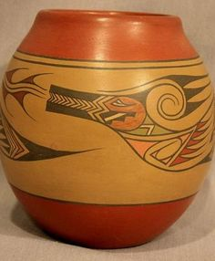 $3000 Polychrome Water Serpent Design Against Tan Slip, Pottery by Lela & Luther Gutierrez