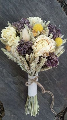 Spring Meadow Wedding Bouquet- Triticale Wheat Bouquet, Peonies Bouquet, Oregano, Craspedia, Pods, Bunny Tails, Linen Ribbon, Twine, Rustic