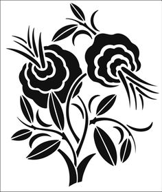Motif No 85 stencil from The Stencil Library ART DECO range. Stencil Patterns, Stencil Designs, Applique Patterns, Designs To Draw, Flower Silhouette, Silhouette Art, Stencil Painting, Fabric Painting, Stenciling