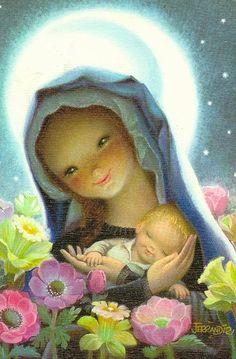 """Moonbeams"" by Juan Ferrandiz Vintage Christmas Cards, Christmas Images, Vintage Cards, Christmas Nativity, Christmas Art, Mary Christmas, Blessed Mother Mary, Mary And Jesus, Holy Mary"