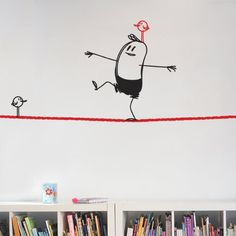 """Bring a room to life with with a decorative vinyl wall graphics. This rope walking Wally Giant vinyl wall sticker is part of """"Wally Your Wall Buddy"""" series and features Wally walking on a rope. Wall Sticker Design, Vinyl Wall Stickers, Wall Painting Decor, Wall Art Decor, Tape Art, Wall Drawing, Wall Hanger, Picture Wall, Kids Room"""