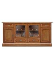 wooden sideboard for dining room with glass doors and friezes. Living room furniture, wooden furniture, classic furniture, classic sideboard